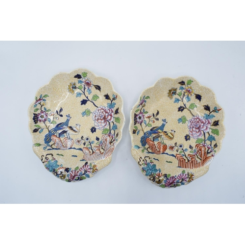 27 - Spode pair of Peacock and Peony shell dishes (2)...