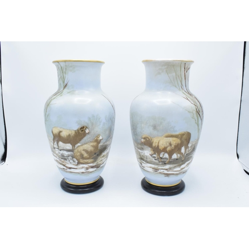 65 - 19th century French painted glass pair of baluster vases depicting sheep in a wintery woodland scene