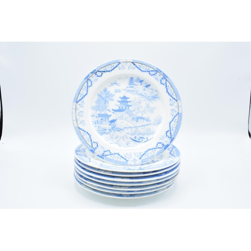 8 - Grainger & Co (Worcester) blue and white 19th century Blue Willow 8 inch side plates (8)...