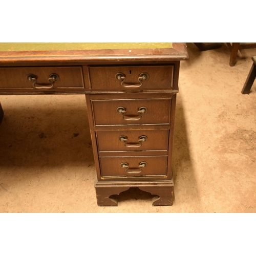 369 - Reproduction wooden desk with leather insert