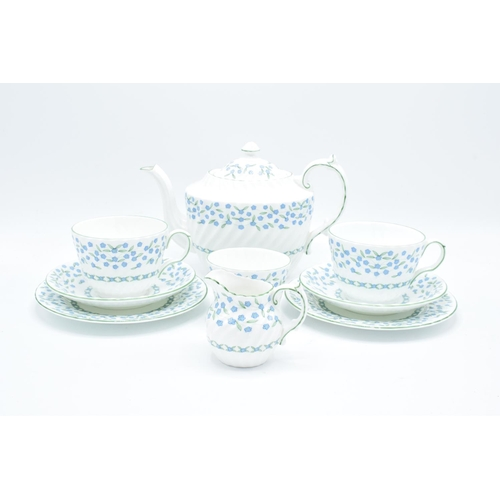 1 - Aynsley Forget Me Not tea for two: teapot, milk, sugar and 2 trios (9) All in good condition without...