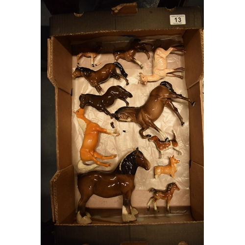13 - A collection of Beswick to include: horses, dogs, deer etc (all a/f)...