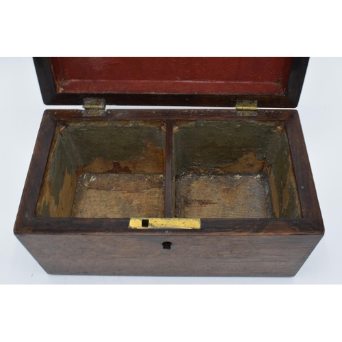 18 - Small rosewood tea caddy with original brass hinges and original lids  one handle has been replaced....