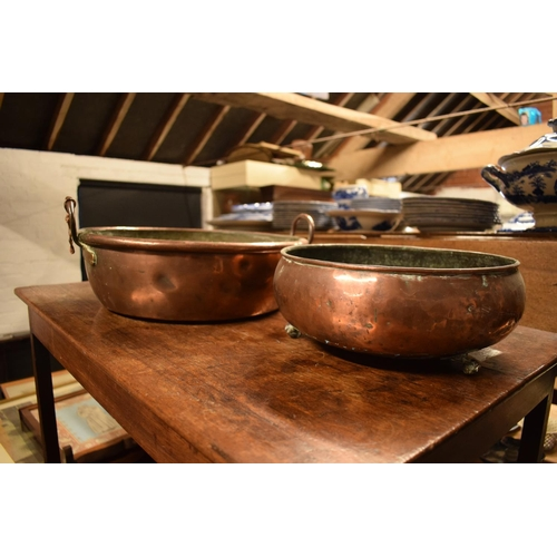 20 - 2 Victorian copper shallow planters, one with 2 handles, with the other raised on claw feet (2)...