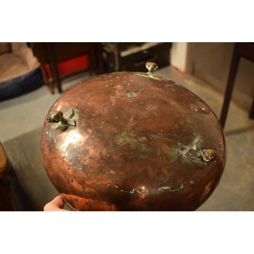 20 - 2 Victorian copper shallow planters, one with 2 handles, with the other raised on claw feet (2)