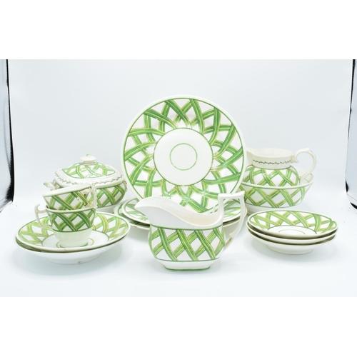 21 - Coalport porcelain part tea and dinner set in the Felt Spar design, circa 1820 (14 pieces) The tea s...