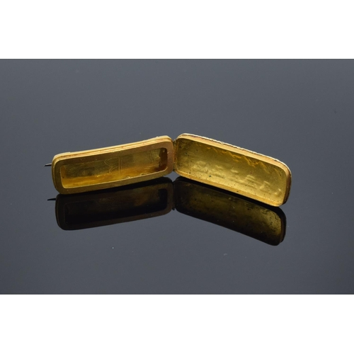 217 - 19th century REGARD brooch set in yellow coloured metal: Unusual opening locket style brooch, set wi...