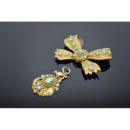 Asian gold coloured metal brooch & pendant set turquoise with enamel decoration: Tested as higher carat gold, with loses to both stones & enamel, gross weight 22.7g. The stone does come out on the pendant.