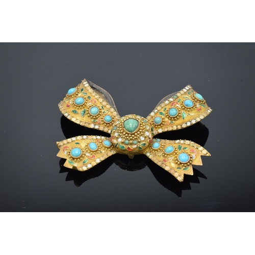 218 - Asian gold coloured metal brooch & pendant set turquoise with enamel decoration: Tested as higher ca...