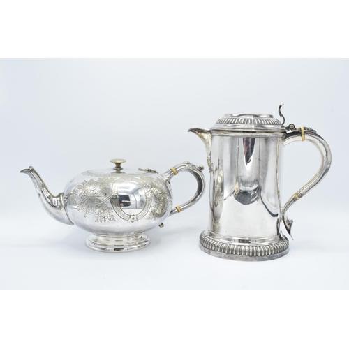 22 - Victorian silver plate tea pot and lidded tankard (2)...
