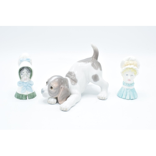 26 - Royal Worcester candle snuffers Mob Cap and Old Woman together with Lladro beagle dog (3) All in goo...