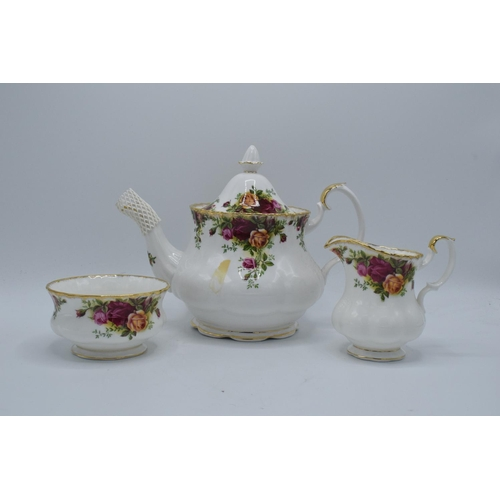 27 - Royal Albert teapot, milk and sugar in the Old Country Roses design (3) All in good condition withou...
