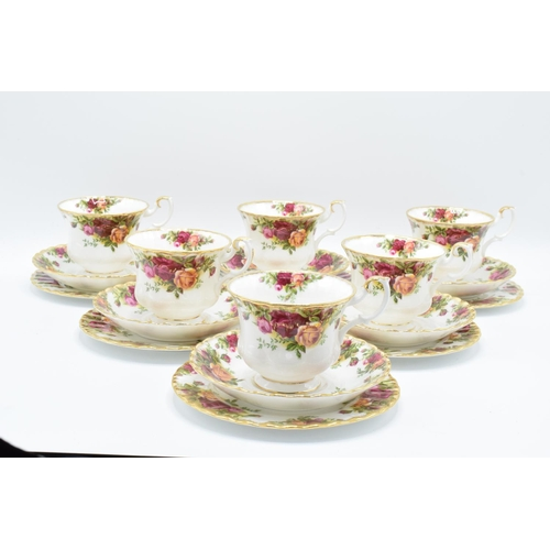 28 - Royal Albert Old Country Roses collection of 6 trios. All in good condition without any obvious dama...