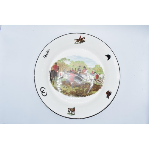 3 - Large shallow bowl depicting a hunting scene of J.F Herring and Son, made by China Originals of Cong...