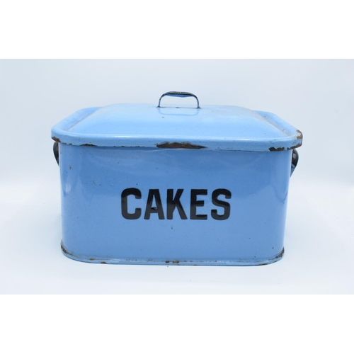 7 - Original 1960s blue enamel cake tin (untouched condition)  Loss of enamel in some places, slightly m...
