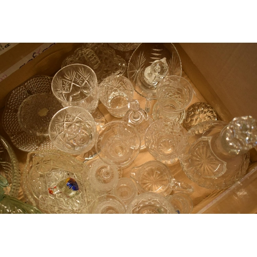5D - A mixed collection of glass and crystal to include glasses, decanters, tumblers etc .Condition is mi...