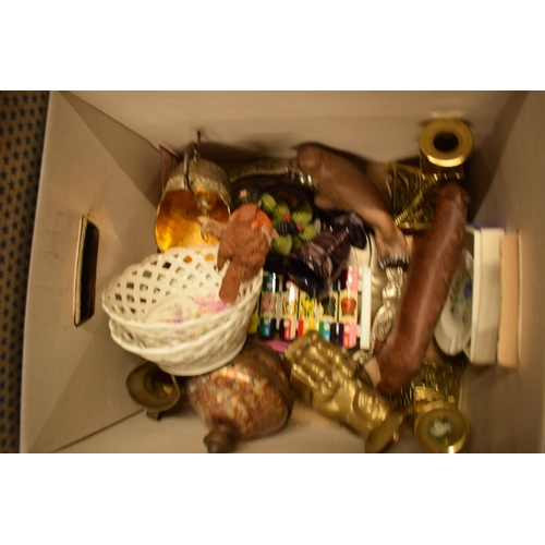 5I - A mixed collection of items to include brass toby jugs, candlesticks, Aynsley etc  Condition is mixe...