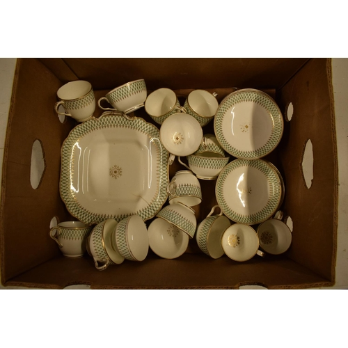 5M - A 19th century unmarked English part tea set with green and gold decoration (mostly a/f) No postage...