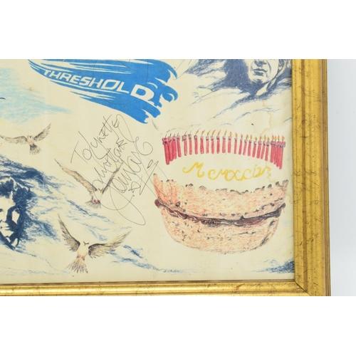 5Y - The Moody Blues signed fan artwork by Lynette Blake (Blake was a huge fan who would often get backst...