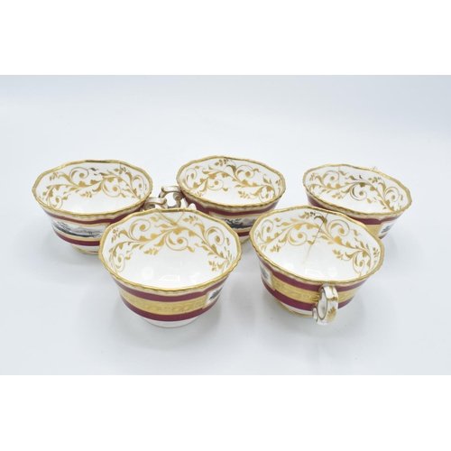 38 - A collection of H & R Daniel tea and dinner ware: pattern number 4024, circa 1820 (29 pieces). In mi...