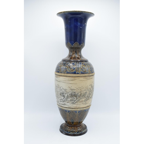 130 - Doulton Lambeth vase by Hannah Barlow depicting a scene of lions and gazelles, 51.5cm tall, in need ...