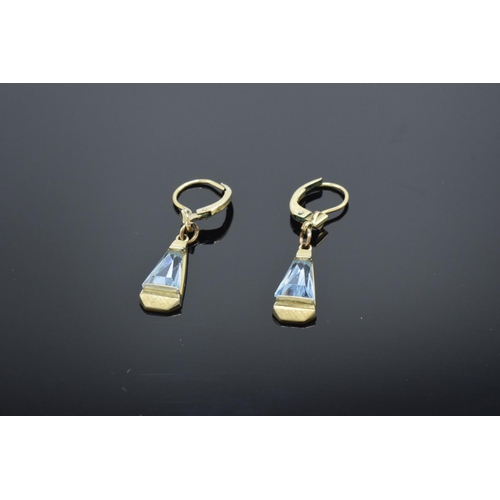 214 - 14ct rolled gold and aqua marine drop earrings, 2.1 grams total weight.
