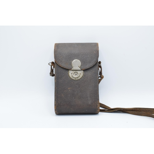 23 - Kodak No 3 Folding Pocket Camera Model H: in leather carry case. Untested condition, assumed spares ...