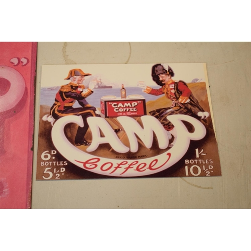 11 - A collection of metal advertising signs including Bovril and 2 Camp (3) Rust and wear to the pink Ca...