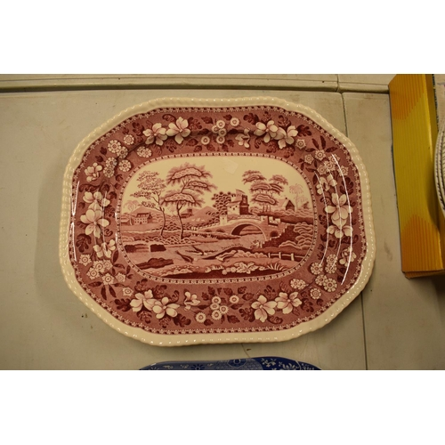 19 - Spode meat plates to include Blue Italian pattern and Pink Tower, both seconds. In good condition wi...