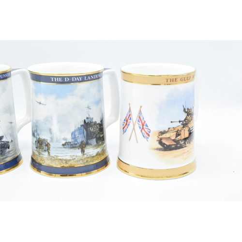 2 - A collection of Royal Doulton tankards to commemorate Gulf War, D-day Landings, Dunkirk and the Falk...