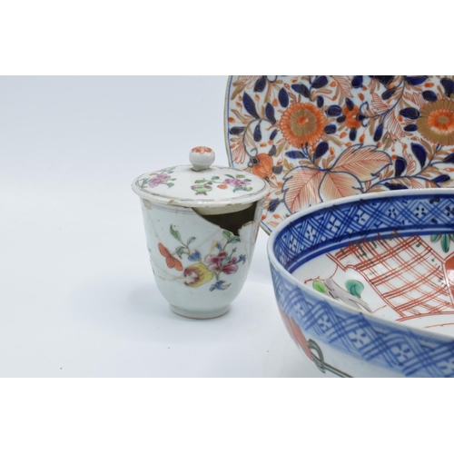 26 - A collection of oriental items to include an oval platter and 2 lidded pots (3) all a/f together wit...