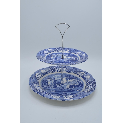 27 - Spode Blue Italian 2 tier cakestand. In good condition with no obvious damage or restoration. Height...