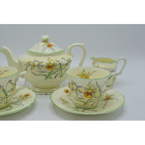 33 - Crown Staffordshire tea for two set in a floral design. In good condition with no obvious damage or ...