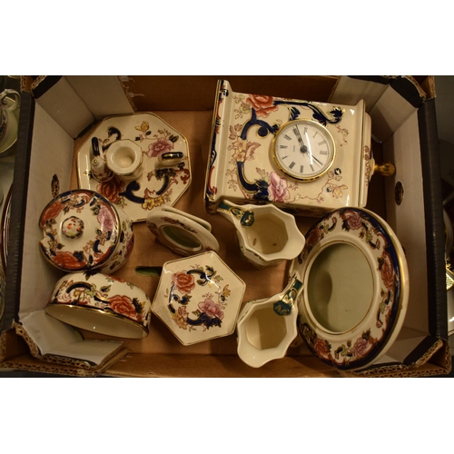 38 - A collection of Masons Blue Mandalay and Chartreuse items to include a large clock, photo frames, ju...