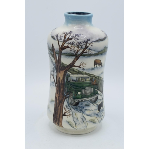 Moorcroft Winter's Feed vase, 2009, limited edition with box and certificate. Signed by Anji Davenport. 21cm tall. In good condition without any obvious damage or repairs. First quality.