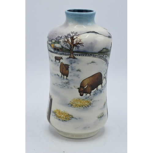 45 - Moorcroft Winter's Feed vase, 2009, limited edition with box and certificate. Signed by Anji Davenpo...