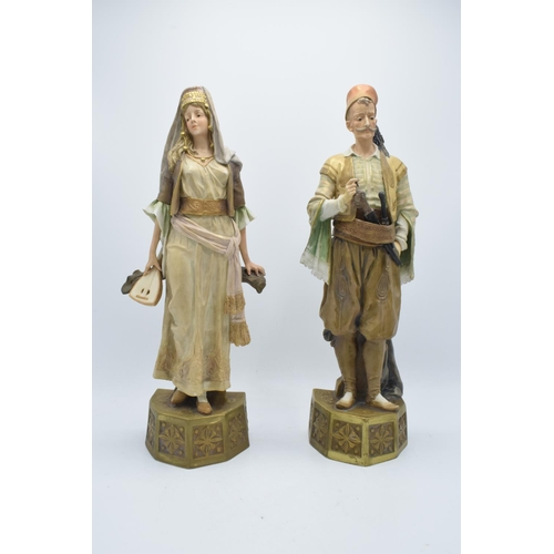 47 - A pair of large Turn Wien (Vienna) figures by Ernst Wahliss, circa 1900. Both are in good condition ...