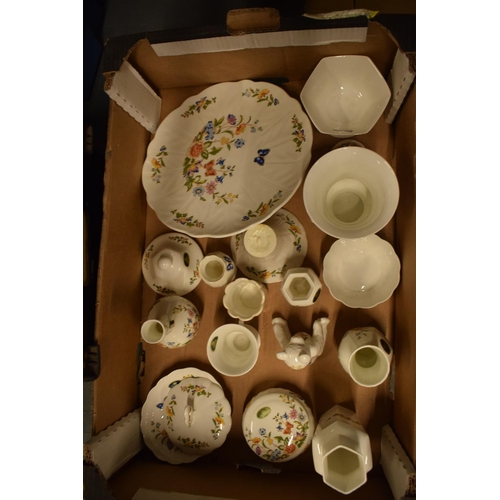 5I - A collection of Aynsley Cottage Garden items to include a cake stand, trinkets, vases etc. Generally...