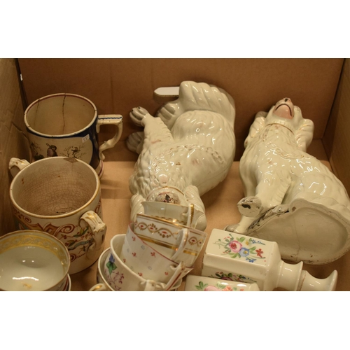 5M - A collection of 19th century pottery to include Staffordshire dogs, tankards, opaque bottles etc. No...