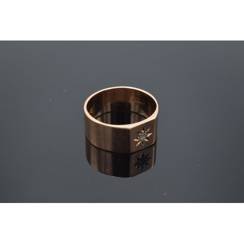 218 - 9ct gold gentleman's signet ring with a central diamond, hallmarked for Chester 1912. Gross weight 5...