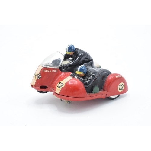 219 - Boxed Scaletric Typhoon B1 red motorbike and sidecar. Untested but displays well. One head loose.