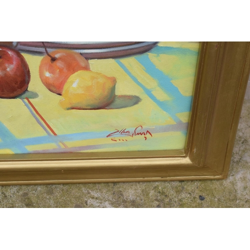 5N - Framed oil painting of a still life scene, signed.
