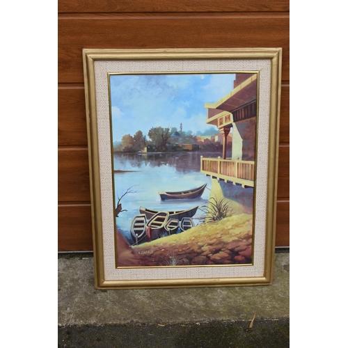 5O - Framed oil painting of a lakeside scene, signed.