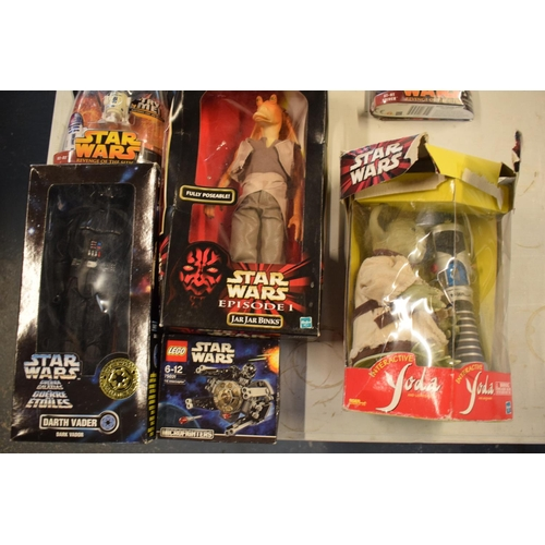13 - A good collection of Star Wars toys to include Jar Jar Binks, interactive Yoda, Dark Vador from the ...