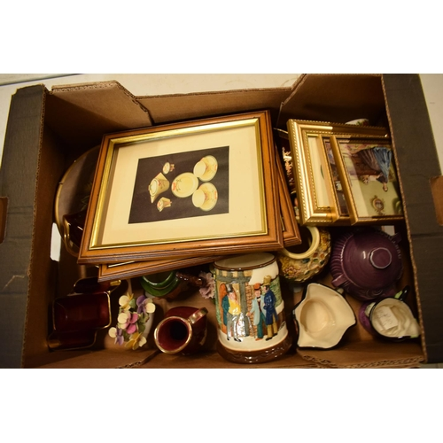 26 - A mixed collection of items to include Carlton Ware, a fruit scene plate, Sylvac, Toby jugs etc. Con...