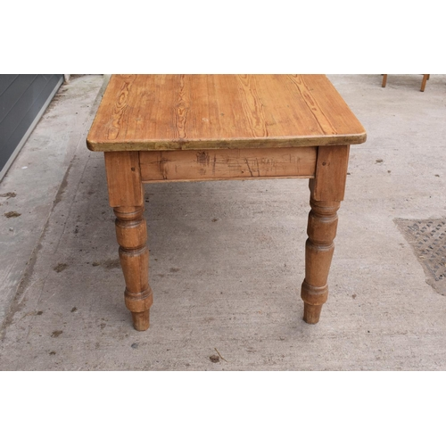 309 - Late Victorian pine kitchen table. 183 x 82 x 77cm. In good solid condition Showing age related wear...