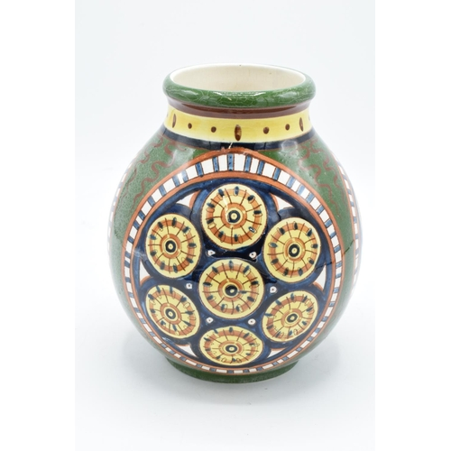 35 - Villeroy and Boch Mettlach Faenza vase with abstract design. In good condition with age related craz...
