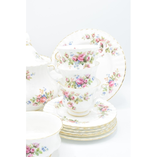 36 - A collection of Royal Albert items in the Moss Rose design to consist of a large teapot, milk and su...