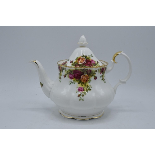 37 - Large Royal Albert tea pot in the Old Country Roses pattern. In good condition with no obvious damag...