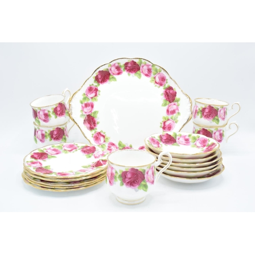 38 - A collection of Royal Albert tea ware in the Old English Rose design to consist of 5 duos, 5 side pl...